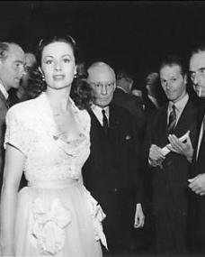 Margaret Lockwood at a party to celebrate the golden jubilee of Nettlefold Studios.    Also seen in the photograph are John Corfield, Ernest Roy (Managing Director of Nettlefold) and Harold Huth (Producer)
