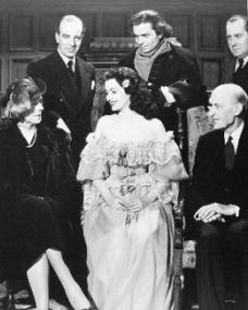 A group photo of Leslie Arliss, James Mason, R J Minney, Margaret Lockwood (and her parents?) during a break from filming of The Wicked Lady