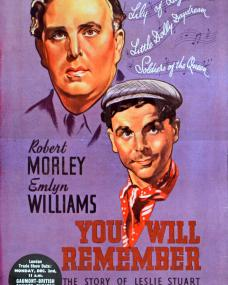 17 inch x 11 inch trade advert for You Will Remember (1941) (1) featuring Emlyn Williams and Robert Morley
