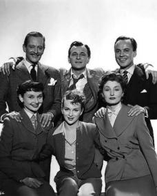 Guy Middleton (as Victor Manifold), Nigel Patrick (as Rodney Pennant), Derek Farr (as Bruce Banning), Audrey Hepburn (as Eve Lester), Joan Greenwood (as Sabina Pennant) and Helen Cherry (as Mary Banning) in a photograph from Young Wives' Tale (1951) (3)
