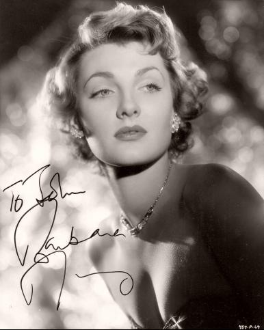 An autographed photograph featuring British actress, Barbara Murray.  Signature reads 'To John, Barbara Murray'.