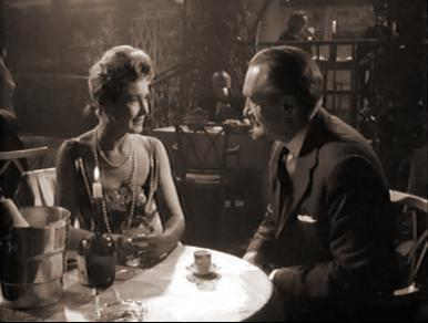 An unsuspecting Mme Dueaux (Patricia Roc) enjoys a seemingly charming evening with Landru (George Sanders)