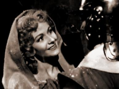 Margaret Lockwood and Brian Worth in a film clip from Cardboard Cavalier