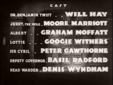 Main title from Convict 99 (1938) (7).  Cast: Will Hay Moore Marriott, Graham Moffatt, Googie Withers, Peter Gawthorne, Basil Radford