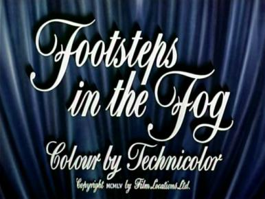 Main title from Footsteps in the Fog (1955).  A Victorian murderer plans to eliminate his blackmailing maid