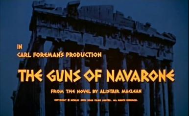 Main title from The Guns of Navarone (1961).  Carl Foreman's production, The Guns of Navarone, from the novel by Alistair MacLean.  Copyright 1961, Open Road Films Limited.  All rights reserved.
