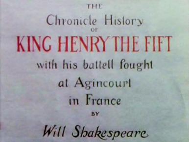 Main title from Henry V (1944) (2).  The Chronicle History of King Henry the Fift with his batell fought at Agincourt in France by Will Shakespeare