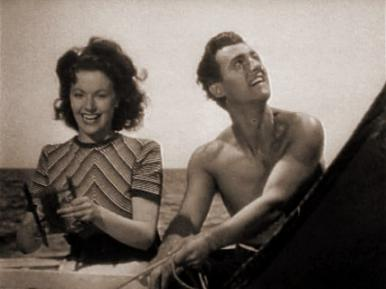 Kit (Stewart Granger) takes Lissa (Margaret Lockwood) out on his boat to catch mackerel on a string