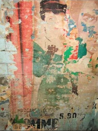 The tattered remains of a poster for the 1943 film, The Man in Grey, discovered in the Paris Metro during renovation works in 2008
