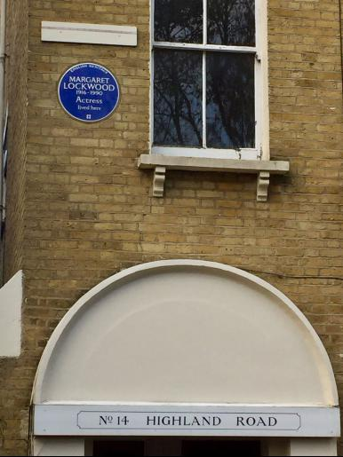 No 14 Highland Road, Upper Norwood, London sports a new blue plaque in honour of former resident Margaret Lockwood.  Plaque reads 'English Heritage  Margaret Lockwood 1916-1990  Actress lived here'