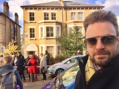 Owner of Silver Sirens, Richard Williams, at the unveiling of the English Heritage blue plaque to Margaret Lockwood at her former home at 14 Highland Road, Upper Norwood, London on 22nd November, 2018