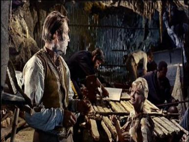 Joan Greenwood, Gary Merrill and Michael Craig in a film clip from Mysterious Island