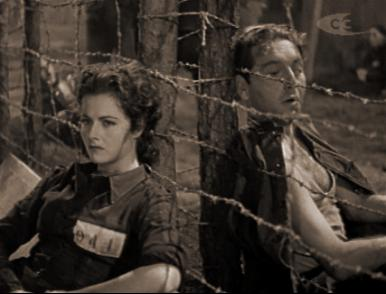 Margaret Lockwood and Paul Henreid in a film clip from Night Train to Munich