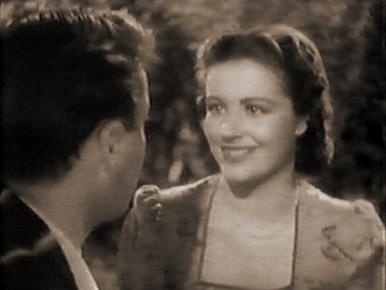 Derek Farr and Margaret Lockwood in a film clip from Quiet Wedding