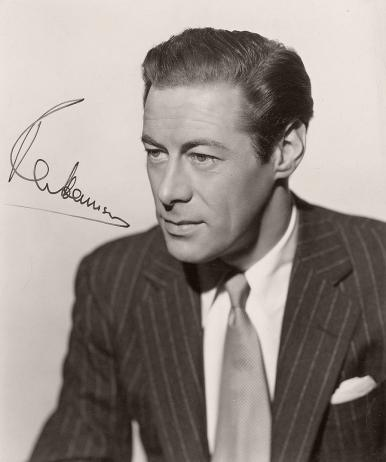 Autographed photograph of British actor Rex Harrison from the 1948 film, Escape