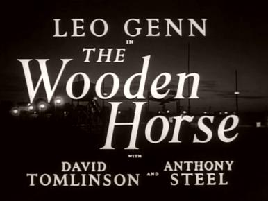 Main title from The Wooden Horse (1950).  'Leo Glenn in The Wooden Horse with David Tomlinson and Anthony Steel'.