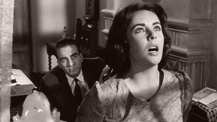 Photograph from Suddenly, Last Summer (1959) featuring Montgomery Clift (as Dr Cukrowicz) and Elizabeth Taylor (as Catherine Holly)