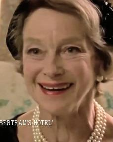 Screenshot from Agatha Christie's England (2021) (1) featuring Joan Greenwood. Miss Marple: At Bertram's Hotel. BBC, 1987