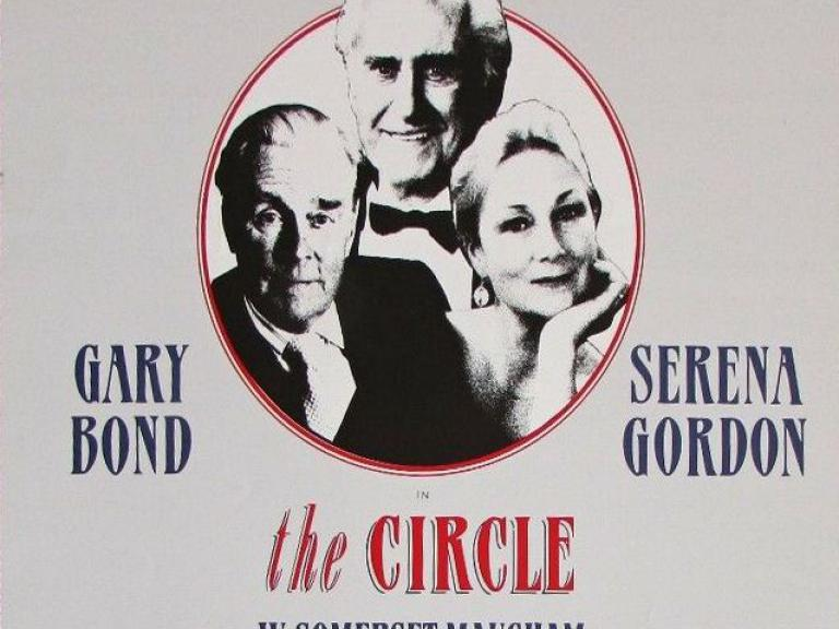 Poster from from The Circle (1990) (1) at the Theatre Royal, Bath.  Features Stewart Granger Ian Carmichael and Serena Gordon
