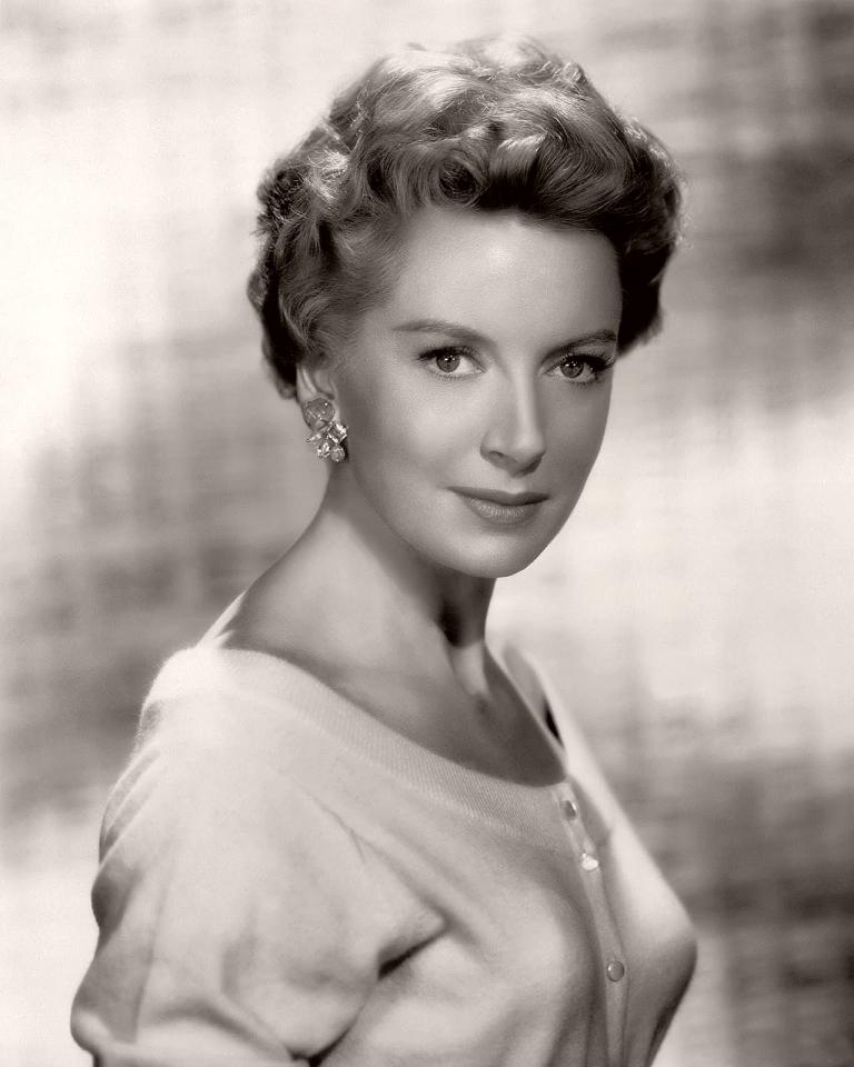 British actress, Deborah Kerr, in a black and white publicity photograph
