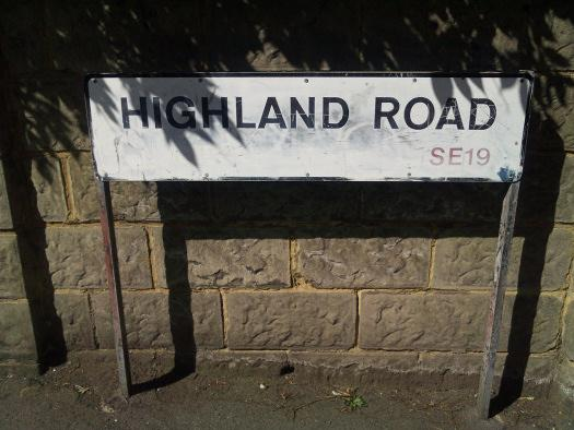 Street sign for Margaret Lockwood's former home in Highland Road, Upper Norwood, London