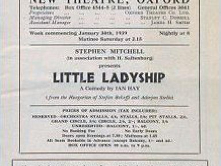 Programme from Little Ladyship (1939) at the New Theatre, Oxford (1)