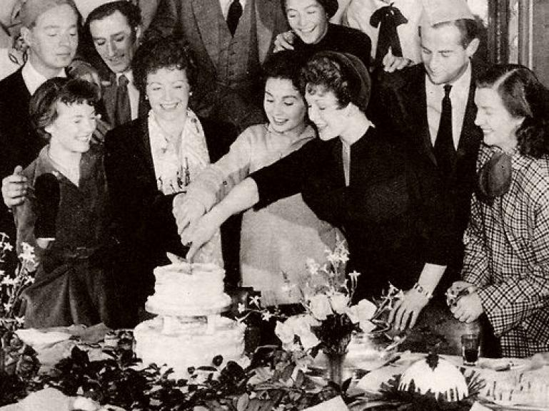 Cutting the cake at the Pinewood Studios' Christmas party in 1949 are Margaret Lockwood, Jean Simmons and Jean Kent. Also pictured are Dirk Bogarde Petula Clark, Anouk Aimée, Jimmy Hanley and Kathleen Ryan.