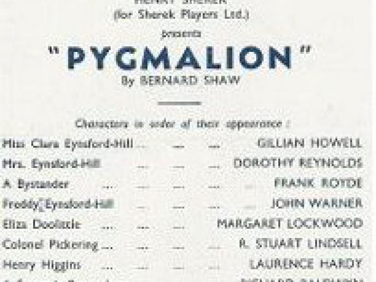 Programme from Pygmalion (1951) at the Bristol Hippodrome (1)