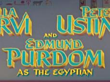 Main title from The Egyptian (1954) (5). Bella Darvi, Peter Ustinov and Edmund Purdom as the Egyptian