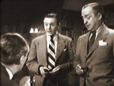 Hugh Williams (as Tony), Naunton Wayne (as Fotheringham) and Basil Radford (as Prendergast) in a screenshot from A Girl in a Million (1945) (1)