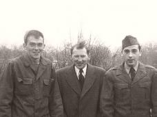 Twin brothers John [L] and Andrew [R] with brother Charles Connor [centre], who would send typewritten letters of news on the American home front to the twins fighting in Korea.  1952.