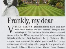 Country Life reports the sale of Vivien Leigh's former home in Wiltshire.  Article from 26th July 2017.