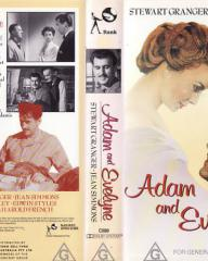 Jean Simmons (as Evelyne Wallace) and Stewart Granger (as Adam Black) in an Australian video cover from Adam and Evelyne (1949) (1)