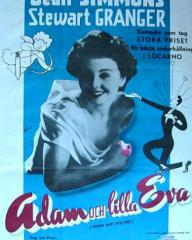 Jean Simmons (as Evelyne Wallace) in a Danish poster for Adam and Evelyne (1949) (1)
