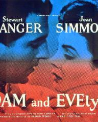 Stewart Granger (as Adam Black) and Jean Simmons (as Evelyne Wallace) in a poster for Adam and Evelyne (1949) (2)