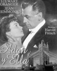 Jean Simmons (as Evelyne Wallace) and Stewart Granger (as Adam Black) in a Spanish DVD cover of Adam and Evelyne (1949) (1)