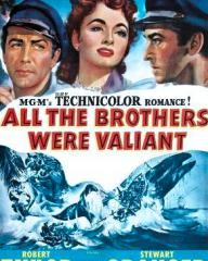 Robert Taylor (as Joel Shore), Ann Blyth (as Priscilla 'Pris' Holt) and Stewart Granger (as Mark Shore) in a DVD cover of All the Brothers Were Valiant (1953) (1)