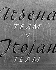 Main title from The Arsenal Stadium Mystery (1939) (7).  Arsenal Team v Trojan Team