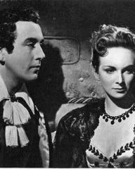 Dennis Price (as Lord Byron) and Joan Greenwood (as Lady Caroline Lamb) in a photograph from The Bad Lord Byron (1948) (7)