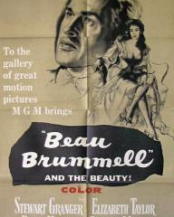 Stewart Granger (as George Bryan 'Beau' Brummell) and Elizabeth Taylor (as Lady Patricia Belham) in a poster for Beau Brummell (1954) (1)