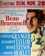 Stewart Granger (as George Bryan 'Beau' Brummell) and Elizabeth Taylor (as Lady Patricia Belham) in a poster for Beau Brummell (1954) (2)
