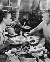 Jean Simmons (as Emmeline Foster) and Donald Houston (as Michael Reynolds) in a photograph from The Blue Lagoon (1949) (5)