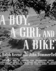 Main title from A Boy, a Girl and a Bike (1949) (5).  by Ralph Keene and John Sommerfield.  Copyright 1949 by General Film Distributors Limited.  All characters and events in this picture are fictitious and any similarity to living events or persons, living or dead, is purely coincidental