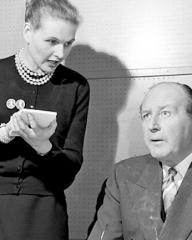 Photograph from A Case for Dr Morelle (1957) (1) featuring Cecil Parker and Sheila Sim