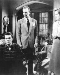 Dirk Bogarde (as Edward Bare), Robert Flemyng (as Phillip Mortimer) and Margaret Lockwood (as Freda Jeffries) in a photograph from Cast a Dark Shadow (1955) (5)