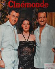 Cinémonde magazine with David Niven, Ava Gardner, and  Stewart Granger in The Little Hut.  24th January, 1957, issue number 1172.  (French)