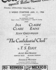 Programme from The Confidential Clerk (1954) at the Colonial Theatre, Boston (1)