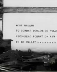 Main title from Doomwatch (1972) (1). Most urgent To combat worldwide pollution problem recommend formation new government department to be called… … … … … .