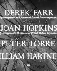 Main title from Double Confession (1950) (1).  Derek Farr (by arrangement with Associated British Picture Corporation Ltd) Joan Hopkins (by arrangement with Associated British Picture Corporation Ltd), Peter Lorre, William Hartnell in