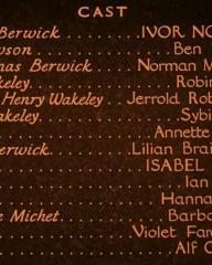 Main title from Downhill (1927) (7).  Ivor Novello Ben Webster, Norman Mckinnel, Robin Irvine, Jerrold Robertshaw, Sybil Rhoda, Annette Benson, Lilian Braithwaite, Isabel Jeans, Ian Hunter, Hannah Jones, Barbara Gott, Violet Farebrother, Alf Goddard